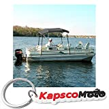 North East Harbor 4 Bow Boat Bimini Top Cover Gray With Zippered Boot Fits 61''-66'' Width Beam V-Hull Fishing Ski Boat Runabout Pro Bass + KapscoMoto Keychain