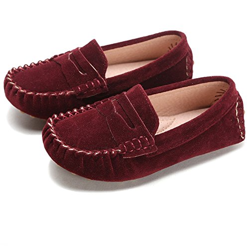 Battle Men Little Kids Penny Loafers Flat Heel Slip On Toddler's Shoes for Boys & Girls Causal Comfortable (Color : Red, Size : 7.5 M US Toddler)