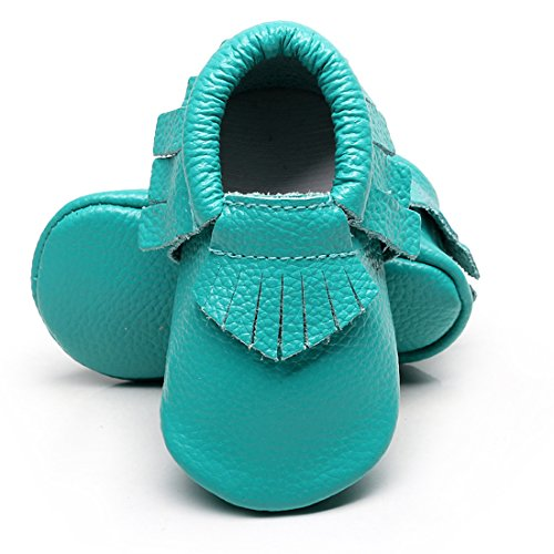 (Infant Toddler Moccasins Baby Crib Shoes Soft Leather Sole Tassel Prewalker First Walkers for Boys Girls,Aqua,0-3 Months)