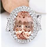 Women Fashion Jewelry 925 Silver Morganite Gemstone Wedding Engagement Ring New (8)
