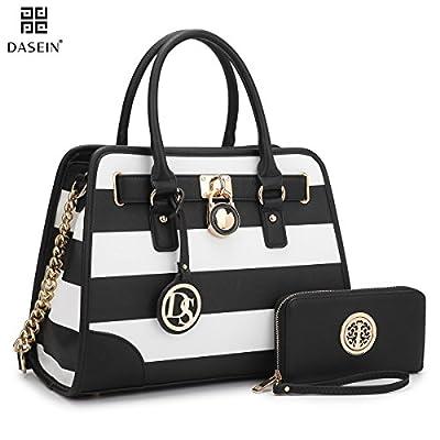 Dasein Women's Designer Padlock Striped Belted Top Handle Satchel Handbag Purse Shoulder Bag With Wallet