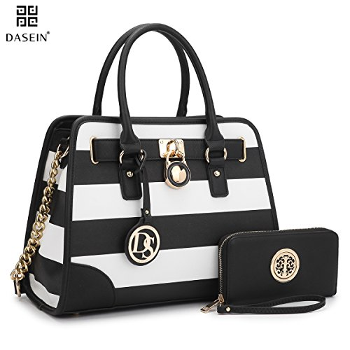 Dasein-Womens-Designer-Padlock-Striped-Belted-Top-Handle-Satchel-Handbag-Purse-Shoulder-Bag-With-Wallet