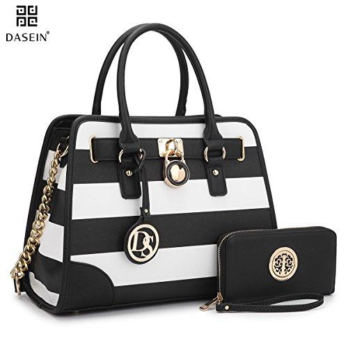Dasein-Womens-Designer-Padlock-Striped-Belted-Top-Handle-Satchel-Handbag-Purse-Shoulder-Bag-With-Wallet