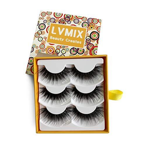LVMIX 3D False Eyelashes Fluffy Lashes Pack Long Fake Eyelashes Full Reusable Faux Mink Eyelashes 3 Pairs - Full Faux Eyelashes