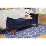 Modern Button Tufted Blue Velvet Upholstery Entryway Storage Bench with Solid Wood Legs - Includes Modhaus Living Pen