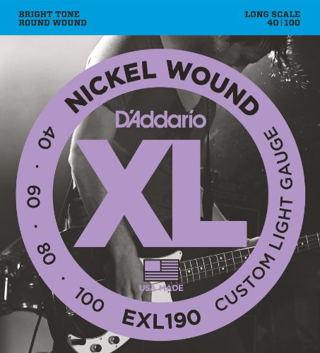 D'Addario EXL190 Nickel Wound Bass Guitar Strings, Custom Light, 40-100, Long Scale from D'Addario