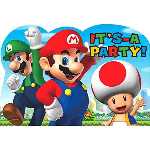 American Greetings Super Mario Invite Postcards (8 Count) (Super Mario Day)