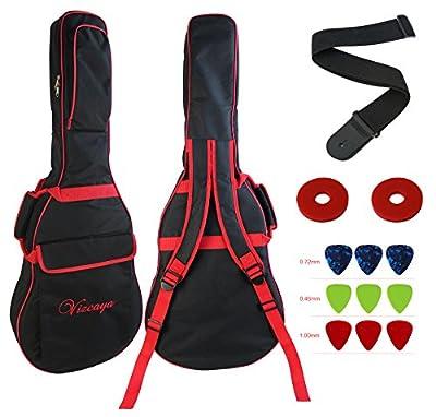 "Vizcaya 41 Inch Waterproof Dual Adjustable Shoulder Strap Acoustic Guitar Gig Bag 15mm Padding Backpack with Accessories(Adult Guitar Strap,Picks,Strap Lock) -For 40"" & 41-Inch Acoustic Guitar"