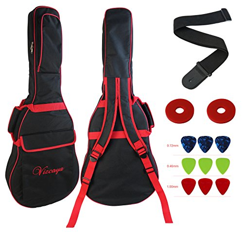 Vizcaya 41 Inch Waterproof Dual Adjustable Shoulder Strap Acoustic Guitar Gig Bag 15mm Padding Backpack with Accessories(Adult Guitar Strap,Picks,Strap Lock) --Black with Red Edge (Guitars 41inch Acoustic)