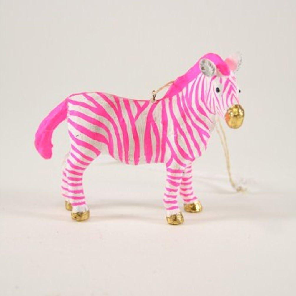 "Cody Foster Christmas Ornament Figure Fantastical Zebra Pink White Gold 3.5/""H…"