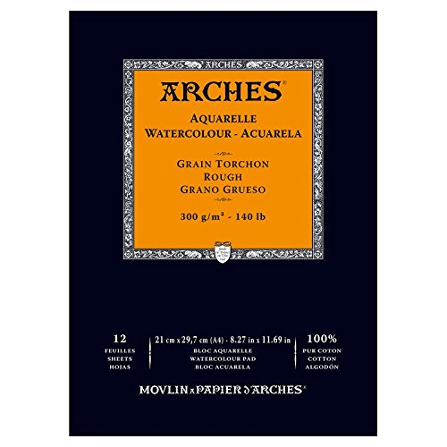 grano grueso A3 Arches bloc 12 hojas engomado 1 lado Papel de acuarela 300 g//m/²