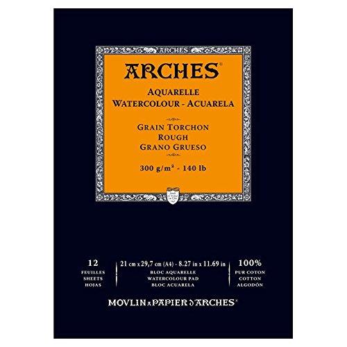 Arches 1795088 Aquarellpapier im Block (36 x 51 cm, 4-seitig geleimt, 300g m² Grobkorn) 20 Blatt naturWeißszlig;  Block 12 Blatt - A4