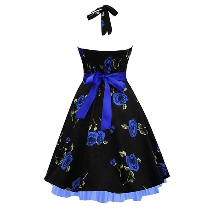 Verano vestidos fiesta vestidos estampados florales estilo Plus Size 50s 60s de algodón sin mangas Vestido Vintage Dress Mujer Rockabilly: Amazon.es: Ropa y ...