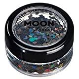 Holographic Glitter Shapes by Moon Glitter – 100% Cosmetic Glitter for Face, Body, Nails, Hair and Lips - 0.10oz - Black