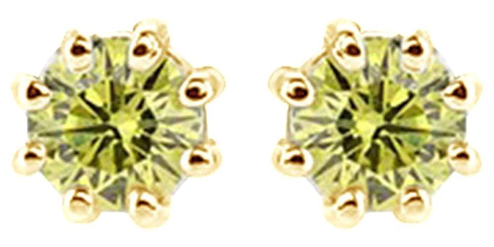 Rundschliff Gelb Natur Natur Natur Diamant Solitaire Ohrstecker in 14 ct 585 Massiv Weiß Gold (0,75 ct) 77674e