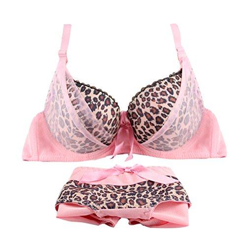 Etosell Womens Leopard Print Padded Push up Bra and Panty Set ()