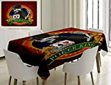 Unique Custom Cotton And Linen Blend Tablecloth Skull Casino Background With Dead Skeleton Poker King Gambler Vegas Smart Game Graphic MulticolorTablecovers For Rectangle Tables, 60 x 40 Inches