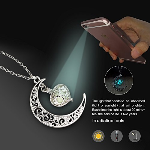 Onairmall luminous series moon love heart pendant necklace for L love jewelry reviews