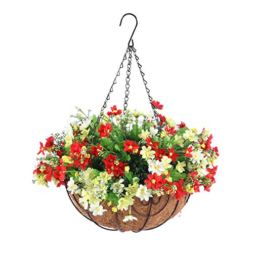 Homsunny Artificial Hanging Flowers with Basket, Fake Daisy Flowers in 12 inch Coconut Lining Hanging Baskets for The…