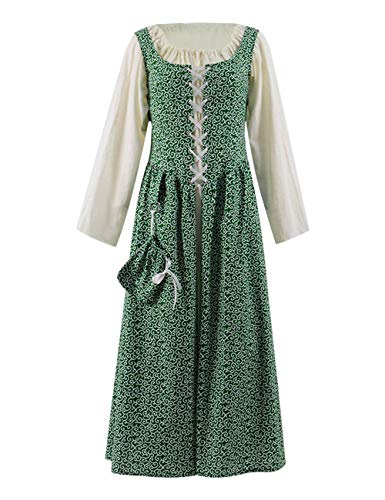 Women Edwardian Victorian Maid Dress Pilgrim Pioneer Costume Colonial with Apron (Women XL, Dress_4)