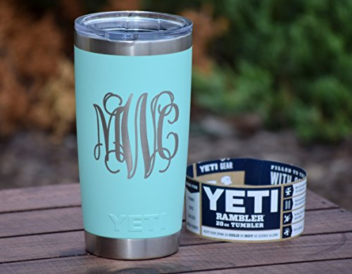 Monogrammed Tumbler Additional Colors Available - Engraved Yeti Rambler - 20 oz Yeti - 30 oz Yeti - Personalized Yeti - Yeti Gift - Laser Engraved Yeti - Yeti Tumbler - Yeti Cup - Yeti Monogram]()