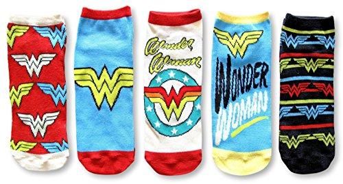 Dc Logo Socks - DC Comics Wonder Woman Logo Juniors 5 Pack Low Cut Ankle Socks (Multi)