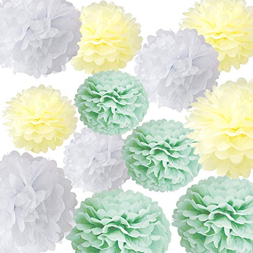 light blue and green paper poms - 5