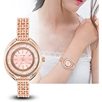 Women Bracelet Watch Luxury Rhinestone Electric Ladies Dress Watch (Rose gold)