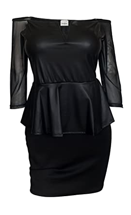 Evogues Plus Size Faux Leather Peplum Dress Black At Amazon Womens