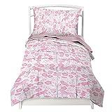 Toddler Bedding Set for Girls in Pink Folk Animals - Double Brushed Ultra Microfiber Luxury Bedding Set