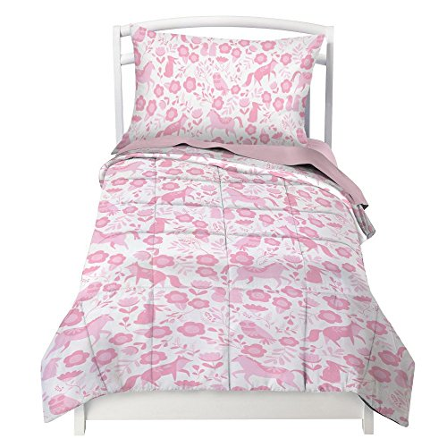 Where The Polka Dots Roam Toddler Bedding Set for Girls in Pink Folk Animals - Double Brushed Ultra Microfiber Luxury Bedding Set
