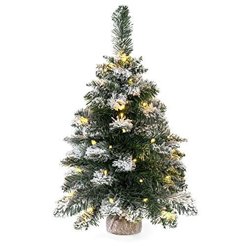 Best Choice Products 24-inch Cordless Indoor Pre-Lit Snow Flocked Tabletop Christmas Tree Holiday Decor with 30 LED Warm White Lights, Hidden Battery Pack, 6 Hour Timer, Green/White