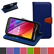 ASUS Zenfone 2 Laser 5.5 Case,Mama Mouth [Stand View] Premium PU Leather [Wallet Case] With Credit Card / Cash Slots Cover For ASUS Zenfone 2 laser 5.5 ZE550KL,Dark Blue