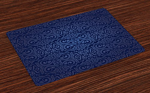 Ambesonne Indigo Place Mats Set of 4, Victorian Vintage Ancient Royal Times Inspired Floral Leaves Swirls Image Artprint, Washable Fabric Placemats for Dining Room Kitchen Table Decor, Dark Blue