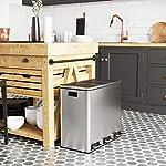 SONGMICS-Cubo-de-Basura-Basurero-Reciclaje-para-Cocina-con-3-cubetas-3-x-18L-Tapa-de-Mecanismo-con-Pedales-Acero-Cubos-Interiores-de-Plastico-y-Asas-de-Transporte-Plata-LTB54NL
