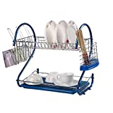 BESTLEE 2 Tier Stainless Steel Kitchen Dish Rack Cup Drying Rack Drainer Dryer Tray Cutlery Holder Organizer(Blue)