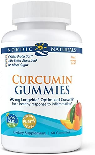 Nordic Naturals Curcumin Gummies – Chewable Gelatin-Free Gummies with 200 mg of Optimized Curcumin Support Healthy Inflammatory Response and Promote Healthy Metabolic Balance, Mango Flavor, 60 Count