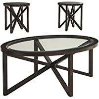 Ashley Furniture Signature Design - Sleffine Occasional Table Set - Tempered and Beveled Glass Tops - Set of 3 - Dark Brown