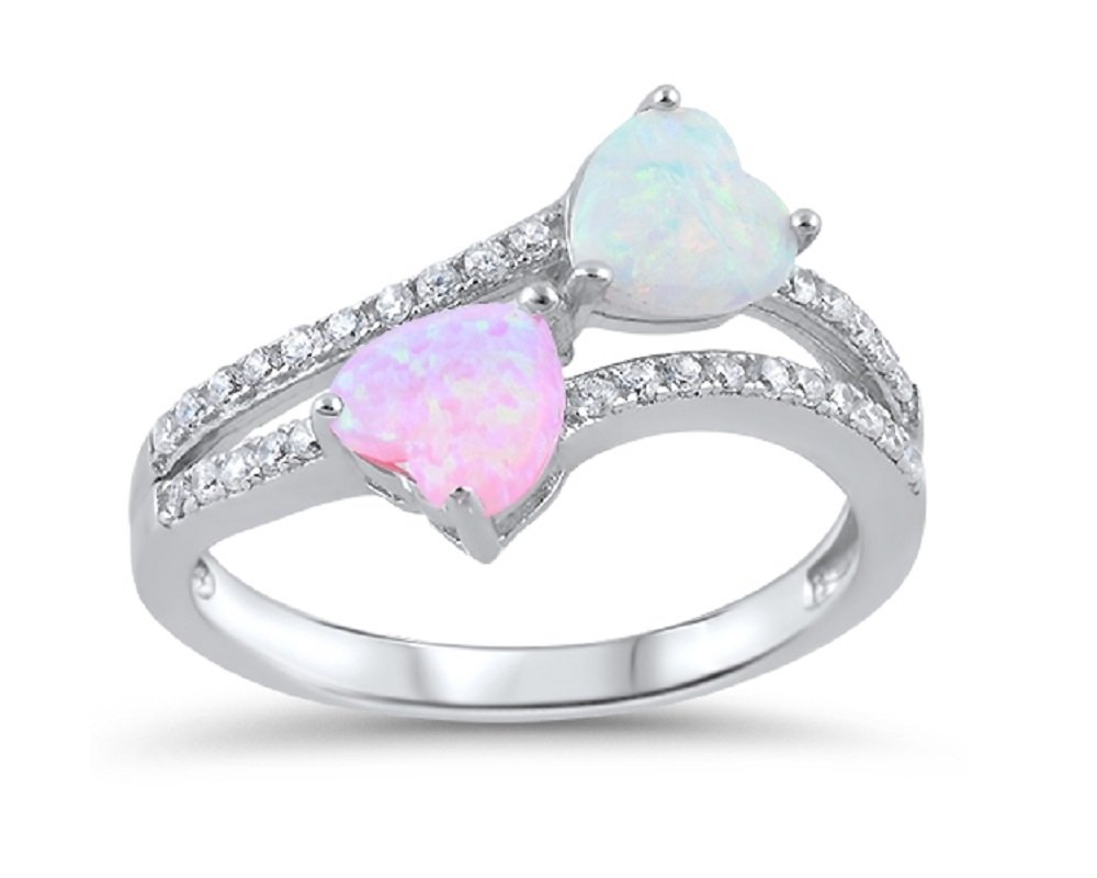 White And Simulated Tourmaline Simulated Opal Two Hearts Ring 925 Sterling Silver Size 5