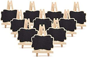 30 Pack Wood Mini Chalkboards Signs with Base Stand,Blackboards with Easel Stand,Tripod Chalkboard Markers,Clip-On Black Board,Wooden Message Board Tag Sign for Memo,Note Taking,Food Label,Party Decor