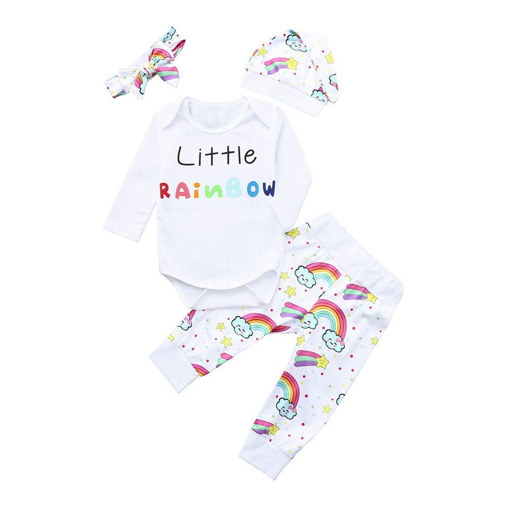 Janly Clothes Set Clearance, Girls Letter Rainbow Romper Tops Headband Hat Infant Shirts Long Trouser for 0-2 Years Old Baby Outfits 4PCS HUWWDRESS