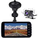 Veoker Full HD1080P 1920x1080 170 Degree Wide Angle 4 Inch LCD Car Dash Cam DVR Recorder Video Dual Lens with G-Sensor Night Vision & Parking Monitor WDR Loop Recording