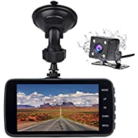 Veoker Full HD 1080P 1920x1080 Car Dash Cam 170° Wide Angle 4 LCD Dashboard Camera DVR Video Recorder Dual Lens Front+Rear with Parking Mode,Night Mode,Loop Recording,G-Sensor