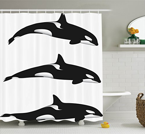 Ambesonne Fish Shower Curtain Set Sea Animals Decor, Three Orca Killer Whales Black And White Pattern Art Print, Bathroom Accessories, with Hooks, 69W X 70L Inches