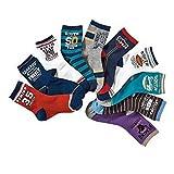 Boys Short Socks Fashion Rugby Cotton Basic Crew Kids Socks 10 Pair Pack