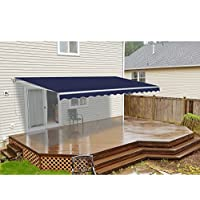 ALEKO Retractable Patio Awning 13ft x 10ft (4m x 3m) Solid Blue Color