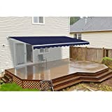 ALEKO Retractable Patio Awning, 13 by 10-Feet/4m by 3m, Solid Blue Color
