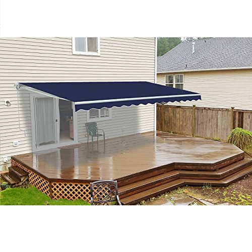 ALEKO Retractable 10' X 8' Patio Awning 10ft x 8ft (3m x 2.5m) Solid Blue Color