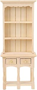Tnfeeon Doll House Furniture Wooden 3-Tier Cabinet, Exquisite Miniature Bookcase Drawer Photography Props 1:12 Dollhouse Decoration(Wood Color)