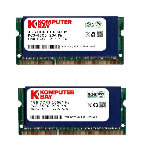 Komputerbay 8GB (2x 4GB) DDR3 SODIMM (204 pin) 1066Mhz PC3 8500 8 GB with SODIMM Heatsink for extra cooling (7-7-7-20) (1066 Dual Channel)